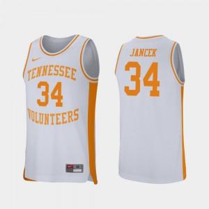 #34 For Men Retro Performance College Basketball Brock Jancek UT Jersey White