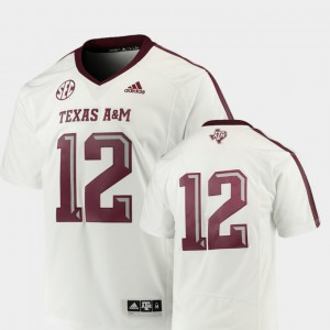 Texas A&M Jersey White #12 Premier For Men College Football