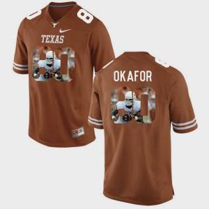 Mens Pictorial Fashion Alex Okafor Texas Jersey #80 Brunt Orange