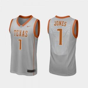 #1 For Men's Andrew Jones Texas Jersey Gray College Basketball Replica