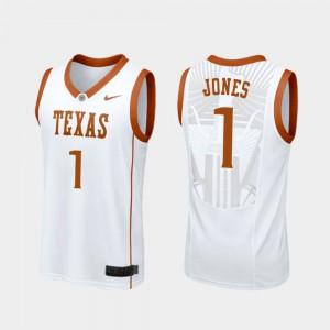 #1 Men's White College Basketball Replica Andrew Jones Texas Jersey