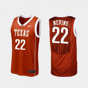 Burnt Orange #22 College Basketball Blake Nevins Texas Jersey For Men's Replica