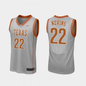 #22 College Basketball Blake Nevins Texas Jersey Replica Mens Gray