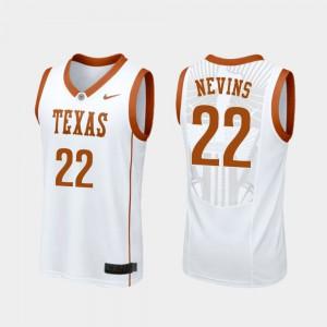 For Men Blake Nevins Texas Jersey Replica White #22 College Basketball