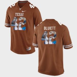 Caleb Bluiett Texas Jersey For Men's Pictorial Fashion #42 Brunt Orange