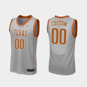 For Men Texas Customized Jerseys Gray College Basketball Replica #00