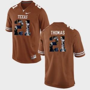 #21 Duke Thomas Texas Jersey Pictorial Fashion Brunt Orange For Men