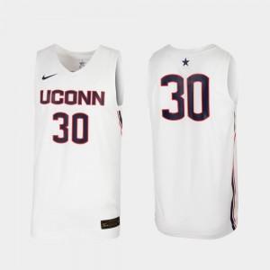 #30 For Men's College Basketball Replica White UConn Jersey