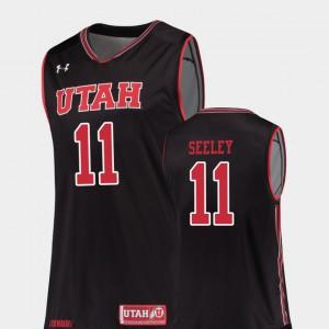 #11 College Basketball Replica Chris Seeley Utah Jersey Black Mens