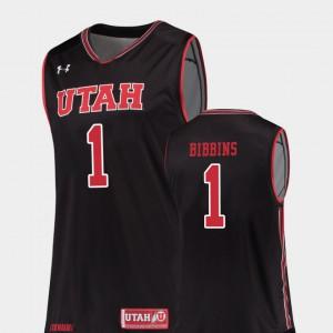 College Basketball Replica Justin Bibbins Utah Jersey Black #1 For Men's