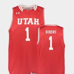 Men #1 Justin Bibbins Utah Jersey Red College Basketball Replica