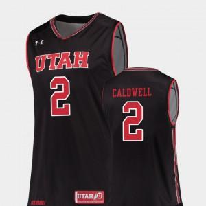 Black Replica Kolbe Caldwell Utah Jersey For Men's College Basketball #2