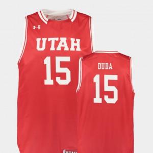 Red Nate Duda Utah Jersey #15 Men's Replica College Basketball