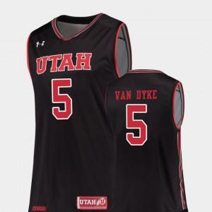Parker Van Dyke Utah Jersey College Basketball Mens #5 Black Replica