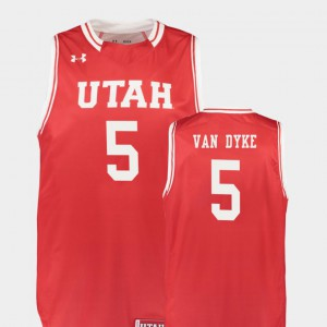 College Basketball Parker Van Dyke Utah Jersey Replica Men's Red #5