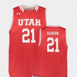 Replica College Basketball Tyler Rawson Utah Jersey Red #21 For Men's