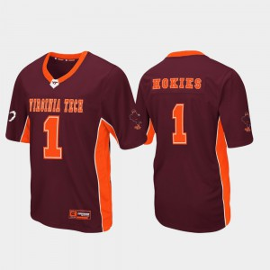 Football For Men's Maroon Max Power #1 Virginia Tech Jersey