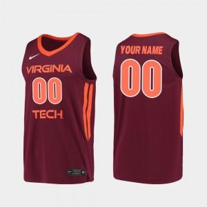2019-20 College Basketball Replica Virginia Tech Custom Jersey #00 Maroon Men
