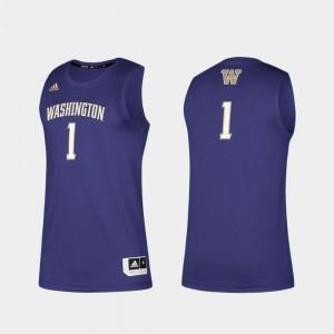Purple Swingman Basketball Basketball Swingman Washington Jersey #1 Men's