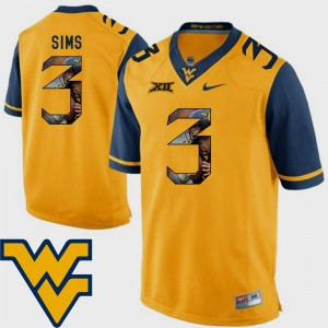 Football Men Charles Sims WVU Jersey #3 Gold Pictorial Fashion