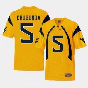 Gold Chris Chugunov WVU Jersey #5 Mens College Football Replica