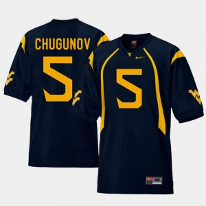 Chris Chugunov WVU Jersey Navy College Football Replica #5 Men's