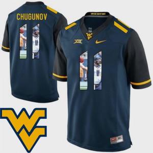 Chris Chugunov WVU Jersey Navy For Men's Pictorial Fashion Football #11