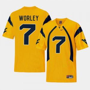 College Football Daryl Worley WVU Jersey Gold #7 Men's Replica