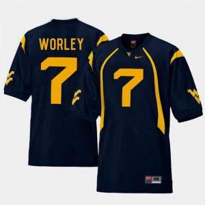 College Football Replica Mens Navy Daryl Worley WVU Jersey #7