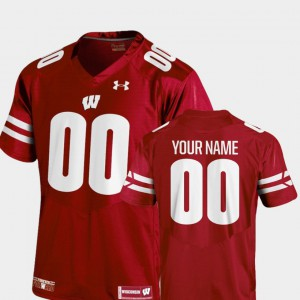 For Men's #00 College Football Red 2018 TC Wisconsin Custom Jersey