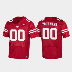 Football #00 Wisconsin Custom Jersey Red For Men Replica