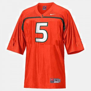 Orange College Football #5 Kids Andre Johnson Miami Jersey
