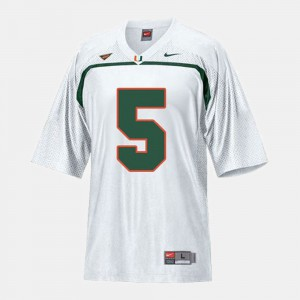 #5 White College Football For Kids Andre Johnson Miami Jersey