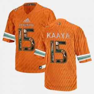 #15 Player Pictorial Mens Orange Brad Kaaya Miami Jersey
