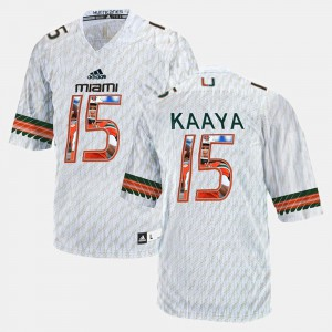 #15 For Men's Brad Kaaya Miami Jersey White Player Pictorial