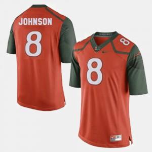 #8 Orange College Football Men Duke Johnson Miami Jersey
