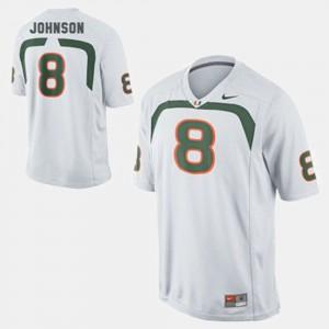 Duke Johnson Miami Jersey Kids White #8 College Football