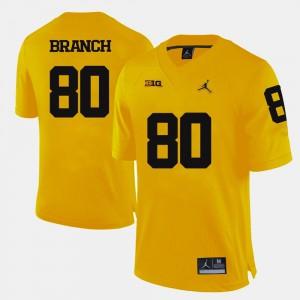 College Football #80 Yellow For Men Alan Branch Michigan Jersey