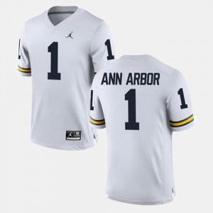 #1 Alumni Football Game White Men Ann Arbor Michigan Jersey