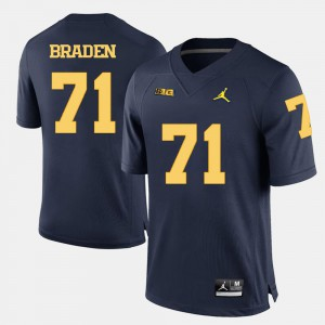 Navy Blue College Football For Men #71 Ben Braden Michigan Jersey