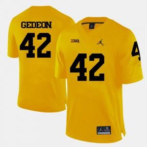 For Men Ben Gedeon Michigan Jersey College Football Yellow #42