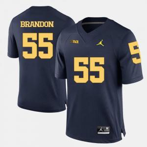 #55 Men College Football Navy Blue Brandon Graham Michigan Jersey