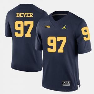Navy Blue Brennen Beyer Michigan Jersey Men College Football #97