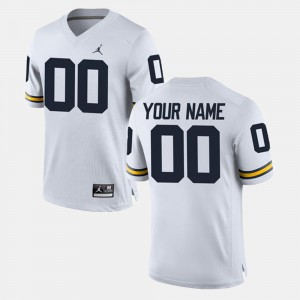 Men's College Limited Football Michigan Customized Jersey White #00