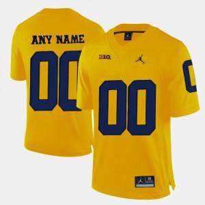 Yellow Michigan Custom Jersey College Limited Football #00 Men's