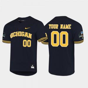 2019 NCAA Baseball College World Series Mens Navy Michigan Customized Jerseys #00