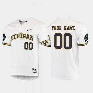 #00 White 2019 NCAA Baseball College World Series Men's Michigan Customized Jerseys