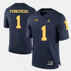 Mens Devin Funchess Michigan Jersey Navy Blue #1 College Football