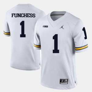 College Football #1 White For Men's Devin Funchess Michigan Jersey