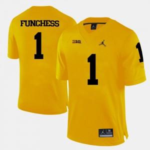 College Football Men #1 Yellow Devin Funchess Michigan Jersey